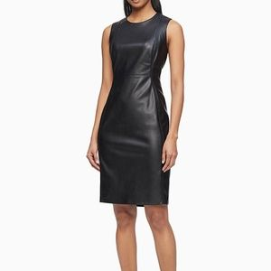 Calvin Klein Faux Leather Sleeveless Sheath Dress